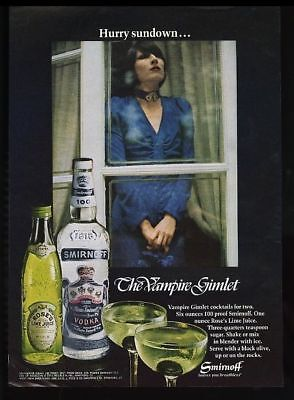 1972 goth girl photo Smirnoff Vodka Vampire Gimlet recipe vintage print ad