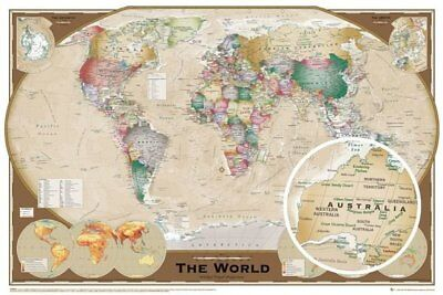 GN0532 World Map  Tripel Projection maxi size poster 61 x 91cm chart wall map