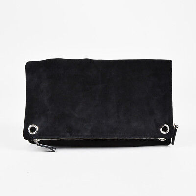 4dc180a51c The Row NWT Black Suede Silver Tone Grommet Origami Fold Over Clutch Bag