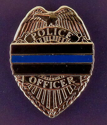 THIN BLUE LINE silver Mini Badge Lapel Pin police officer