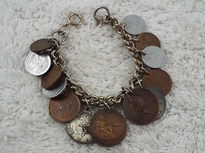 Vintage Mixed 1944-1955 International Coins Charm Bracelet (D50)