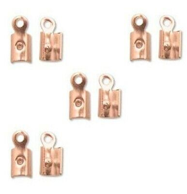 144 Copper Plated Steel Fold Over Cord Ends with Ring / 7x3mm *