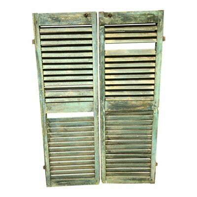 Vintage GREEN WOOD SHUTTER PAIR Louvered architectural salvage exterior shabby 2