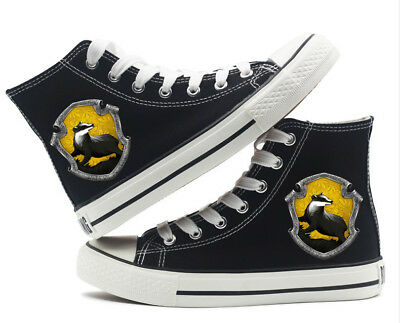 Harry Potter Hufflepuff Badger Canvas Shoes High Top Flat Unisex Causal Shoe