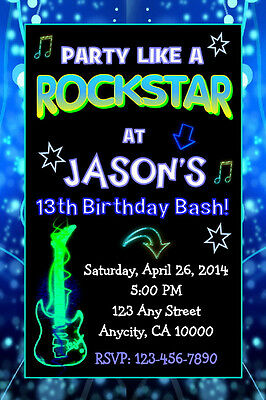Rock Star Teen Girl Neon Glow Custom Birthday Party