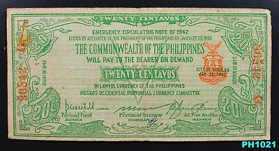 PHILIPPINES NEGROS OCCIDENTAL 20 Centavos WW2 circulated EMERGENCY CURRENCY