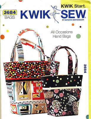 Kwik Sew Sewing Pattern 3684 Easy Learn-To-Sew Lined Hand Totes/bags In 2 Sizes