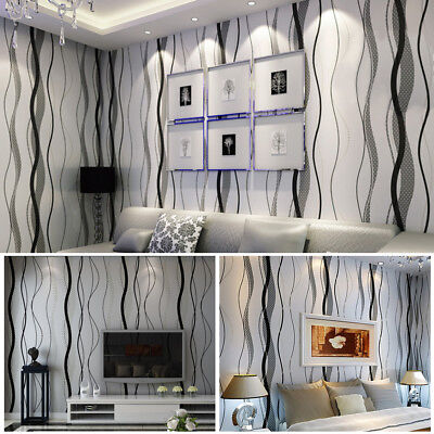 AU Stripe Wallpaper Bedroom Living Room TV Setting Wall Paper Silver Black New