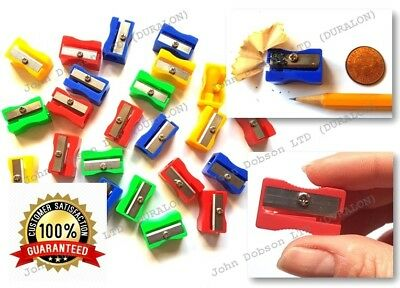 100 x Plastic Single Hole Pencil Sharpeners Rust Proof Blade ASSTD colours 8mm