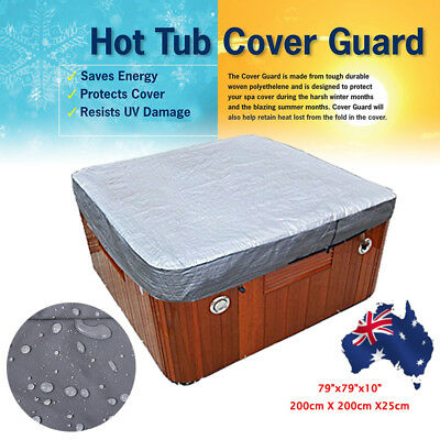 200*200*25cm Hot Tub Spa Cover Cap Guard Waterproof Silver Jacket Bag Protector