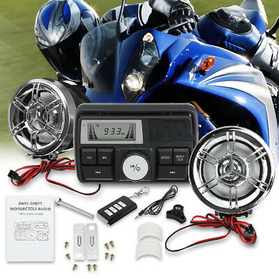 Waterproof Bluetooth Motorcycle Handlebar Audio Radio MP3 Speaker System USB FM