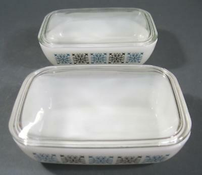 Retro/vintage 60s-70s pyrex milk glass mini lidded casserole dish x 2 (set 2)