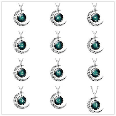 Women 12 Signs of the Zodiac Glass Crescent Moon Pendant Time Gems Necklace