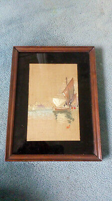 Vintage hand embroidered Framed picture of Yacht early1900's frame size 26x19cm