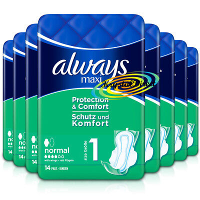 8x Always Maxi Normal Protection & Comfort Sanitary Towels With Wings 14 Pads