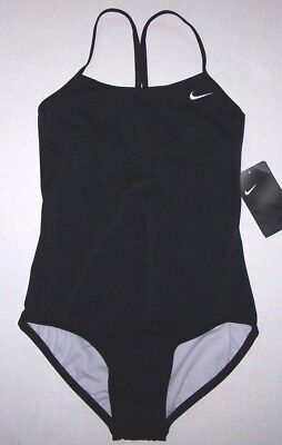 Nwt New Nike Core Racer Back 1-Piece Swimsuit Competition Solid Black Nice Girl