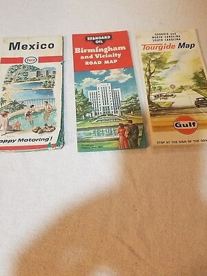 Vintage road maps   Lot of 3 gas stations