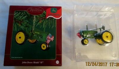 John Deere Christmas Ornament Lot,1 Carlton Cards & 2 Enesco + Diffie Tape