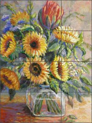Sunflower Tile Backsplash Margosian Flower Floral Art Ceramic Mural JM118