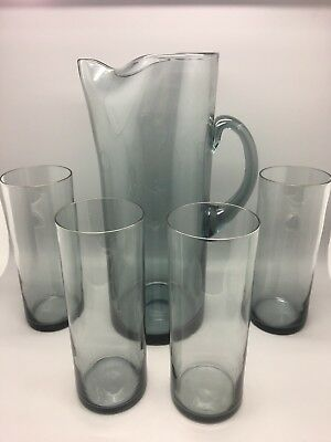 Vintage Beautiful Tall Whitefriars Glass Lemonade Jug With 4 Matching Glasses