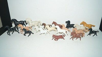 Vintage Mixed Lot of 19 Horse Toy Figurines for Cowboys & Indians Action Figures