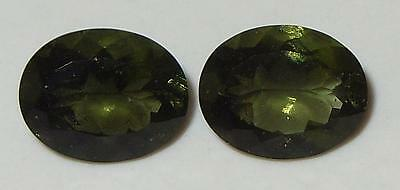 4.16ct Pair Faceted TOP QUALITY Natural Czechoslovakia Moldavite Oval Cut 10x8mm