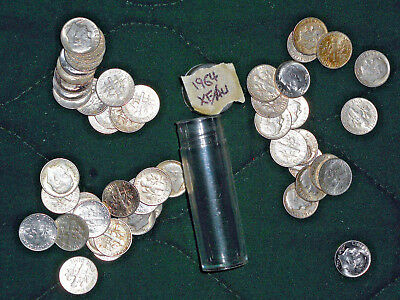 Solid Date Roll Of Circulated 1964 Silver Roosevelt Dimes - Nice