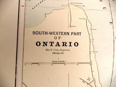 1891 Color Tinted Geo Cram Map South Western Part of Ontario Be Great Framed