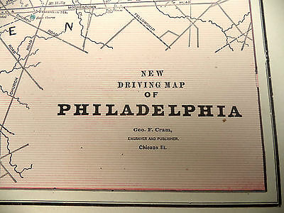 Antique 1891 Geo Cram City Map With Street Names New Driving Map of Philadelphia