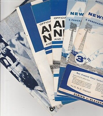 West Bromwich Albion Home Programmes 1962 onwards