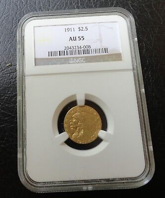 NGC AU 55  $2.5 Gold Coin (Indian Head) Dated 1911