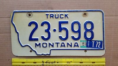 License Plate, Montana, 1970, 72 sticker 23 (Musselshell County small) 598 Truck