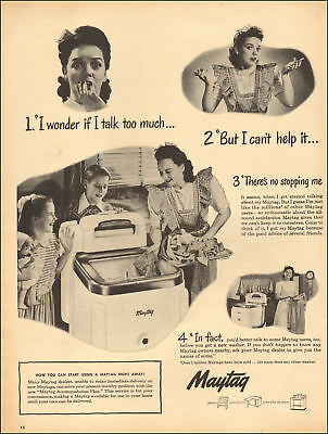 1941 Vintage AD MAYTAG Top Loading Classic Wringer Washing Machine 122817