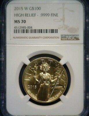 2015 W American Liberty High Relief $100 Gold NGC MS70