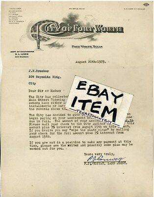 1929 Letterhead CITY OF FORT WORTH Texas BRYCE CONWAY LEWIS CARR BURTON THOMPSON