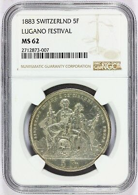 1883 Switzerland 5 Francs Lugano Shooting Festival Silver Coin NGC MS 62 - X#S16