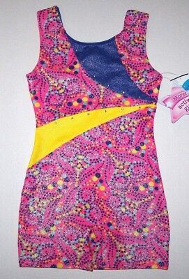 Nwt New Moret Biketard Unitard Leotard Dotted Hearts Tank Pink Glitter Cute Girl