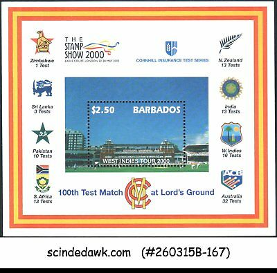 BARBADOS - 2000 100th TEST MATCH AT LORD'S GROUND / CRICKET - MIN/SHT MNH