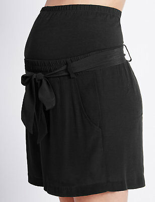 New M&S Maternity & Beyond Black Belted Shorts Sz UK 10
