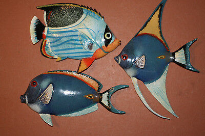 Seafood Restaurant TIki Bar Decor Tropical Coral Reef Fish Wall Decor, Lot of 3
