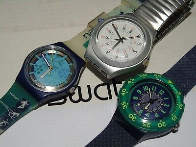 Lot Of 3 Swatch Watches  Rare L@@k  Excellent  Wow Vintage
