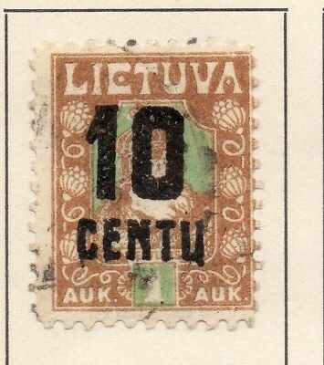Lithuania 1922 Early Issue Fine Used 10c. Surcharged 227668