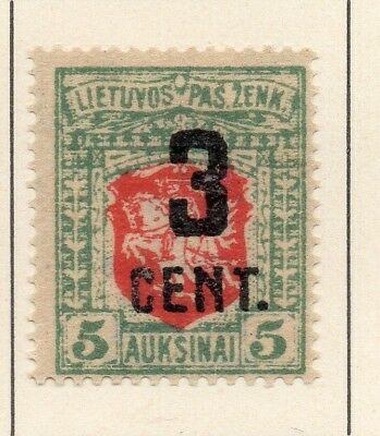 Lithuania 1922 Early Issue Fine Mint Hinged 3c. Surcharged 227663
