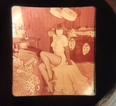 Vintage Bettie Page Stereo Realist Photo 3D Stereoscopic Slide NUDE RISQUE PINUP