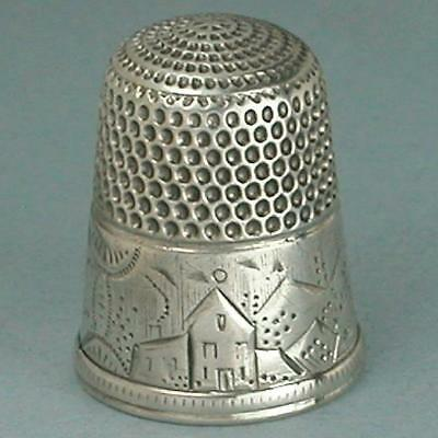 Antique Sterling Silver Landscape Thimble by Simons Brothers * Circa 1880s