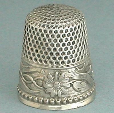 Antique Sterling Silver Daisies Band Thimble by Stern Bros. & Co. * Circa 1900s