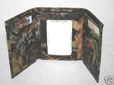 Mossy Oak Camo Leather Tri-Fold Billfold, Men's Camouflage Wallet