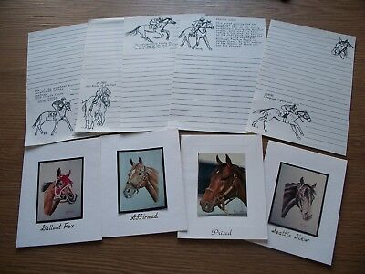 Seattle Slew Prized Gallant Fox Affirmed Art Horse Racing Blank Notecard Lot 4