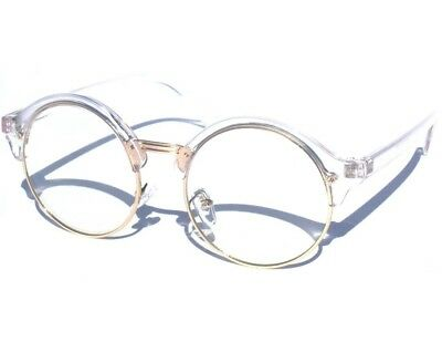 Round Half Frame Transparent and Silver Retro Browline Style Clear Lens Glasses