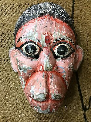 MS22 Old Hanuman Monkey Hindu epic God Wood ritual Antique MASK temple Nepal